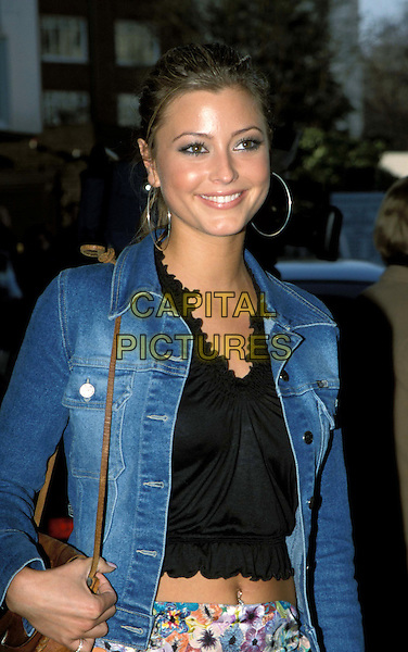 HOLLY VALANCE..Ref: 11560..half length, half-length,  denim jacket, belly button..www.capitalpictures.com..sales@capitalpictures.com..©Capital Pictures