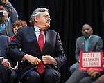 © Joel Goodman - 07973 332324 . 16/06/2016 . Manchester , UK .  Labour Shadow Chancellor , John McDonnell MP and former Labour Prime Minister , Gordon Brown , speak at a Labour IN campaign event at the Union at the University of Manchester . Photo credit : Joel Goodman