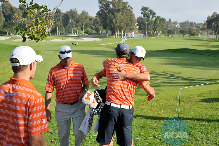 31 MAY 2012:  Teammates congratulate Thomas Pieters of the University of Illinois after winning the Division I Men's Golf Championship held at the Riviera Country Club in Pacific Palisades, CA.  Pieters won the individual title with a -5 score.  Jack Dempsey/NCAA Photos