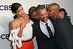 Stephanie Sigman, Jay Harrington and Shemar Moore arrive at the CBS Upfront at The Plaza Hotel in New York City on May 17, 2017.