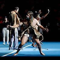 9th November 2019; RAC Arena, Perth, Western Australia, Australia; Fed Cup by BNP Paribas Tennis Final, Day 1, Australia versus France; An Aboriginal dancer performs the welcome to country ceremony
