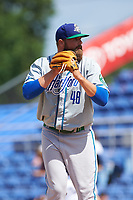 Hartford Yard Goats relief pitcher D.J. Johnson (48) gets ready to deliver a pitch during a game against the Binghamton Rumble Ponies on July 9, 2017 at NYSEG Stadium in Binghamton, New York.  Hartford defeated Binghamton 7-3.  (Mike Janes/Four Seam Images)