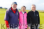 Billy Naughton, Jane and Ger Power, ready to tee off at the Tralee Golf Club in Barrow on Sunday morning.