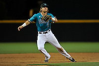 Third baseman Zach Remillard (7) of the Coastal Carolina Chanticleers tracks a pop fly in a game against the South Carolina Gamecocks on Tuesday, April 5, 2016, at Founders Park in Columbia, South Carolina. South Carolina won, 4-2. (Tom Priddy/Four Seam Images)
