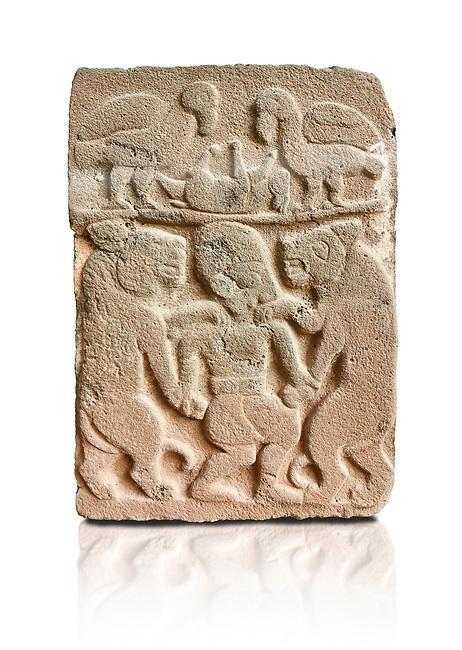 Pictures & images of the North Gate Hittite sculpture stele depicting man with wolves. 8the century BC.  Karatepe Aslantas Open-Air Museum (Karatepe-Aslantaş Açık Hava Müzesi), Osmaniye Province, Turkey. Against white background