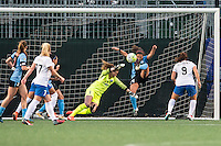 Allston, MA - Saturday, May 07, 2016: Chicago Red Stars midfielder Danielle Colaprico (24) clears a ball off the line during a regular season National Women's Soccer League (NWSL) match at Jordan Field.