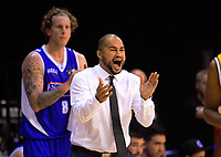 Saints coach Kevin Braswell encourages his team during the national basketball league match between Wellington Saints and Taranaki Mountainairs at TSB Bank Arena in Wellington, New Zealand on Friday, 12 May 2017. Photo: Dave Lintott / lintottphoto.co.nz