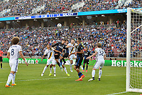 Stanford, CA - Saturday July 01, 2017: Jose Villarreal,, Chris Wondolowski during a Major League Soccer (MLS) match between the San Jose Earthquakes and the Los Angeles Galaxy at Stanford Stadium.