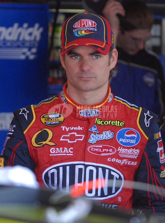 Apr 27, 2007; Talladega, AL, USA; Nascar Nextel Cup Series driver Jeff Gordon (24) during practice for the Aarons 499 at Talladega Superspeedway. Mandatory Credit: Mark J. Rebilas
