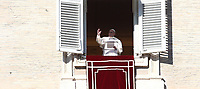Pope Francis recites the Sunday Angelus noon prayer from the window of his studio overlooking Saint Peter's Square, at the Vatican, on January 6, 2019.<br /> UPDATE IMAGES PRESS/Isabella Bonotto<br /> <br /> STRICTLY ONLY FOR EDITORIAL USE