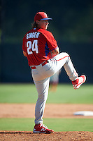 Philadelphia Phillies pitcher Jeff Singer (24) during an Instructional League game against the Toronto Blue Jays on October 1, 2016 at the Carpenter Complex in Clearwater, Florida.  (Mike Janes/Four Seam Images)