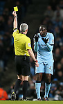 Yaya Toure of Manchester City receives a yellow card - Barclays Premier League - Manchester City vs Newcastle Utd - Etihad Stadium - Manchester - England - 21st February 2015 - Picture Simon Bellis/Sportimage
