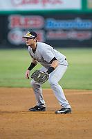 Pulaski Yankees first baseman Kane Sweeney (30) on defense against the Burlington Royals at Burlington Athletic Park on August 6, 2015 in Burlington, North Carolina.  The Royals defeated the Yankees 1-0. (Brian Westerholt/Four Seam Images)