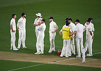 England players wait for DRS decision.<br /> New Zealand Blackcaps v England. 1st day/night test match. Eden Park, Auckland, New Zealand. Day 1, Thursday 22 March 2018. &copy; Copyright Photo: Andrew Cornaga / www.Photosport.nz