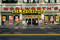 A Woolworth's store in New York during their closing in the United States on Sept. 27, 1997. The chain shut down in the United Kingdom in 2008, eleven years later. (© Richard B. Levine)