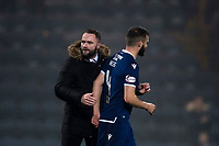1st November 2019; Dens Park, Dundee, Scotland; Scottish Championship Football, Dundee Football Club versus Greenock Morton; Dundee manager James McPake with scorer of the winning goal Jamie Ness at the end of the match - Editorial Use