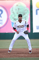Luis Tejada (23) of the Lake Elsinore Storm during a game against the High Desert Mavericks at The Diamond on April 27, 2016 in Lake Elsinore, California. High Desert defeated Lake Elsinore, 10-2. (Larry Goren/Four Seam Images)