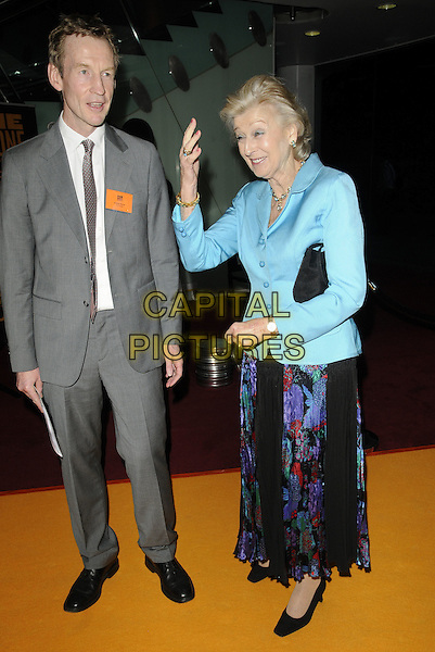 ANDREW PURVIS & HRH PRINCESS ALEXANDRA .At the Fairbridge Film & Animation Awards, BFI Imax cinema, Waterloo, London, England, UK, May 10th 2011..full length royal royalty  grey gray suit tie blue jacket print skirt  black shoes clutch bag hand waving funny .CAP/CAN.©Can Nguyen/Capital Pictures.