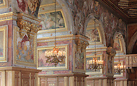 Ballroom or Galerie Henri II, 1519-59, King of France, started by Gilles le Breton under Francois I, completed by Philibert Delorme under Henri II, with decoration and frescoes c. 1552 by Francesco Primaticcio, 1504-70, and Niccolo dell'Abate, Chateau de Fontainebleau, France. The Palace of Fontainebleau is one of the largest French royal palaces and was begun in the early 16th century for Francois I. It was listed as a UNESCO World Heritage Site in 1981. Picture by Manuel Cohen