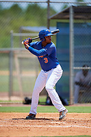 GCL Mets right fielder Edinson Valdez (3) at bat during a game against the GCL Marlins on August 3, 2018 at St. Lucie Sports Complex in Port St. Lucie, Florida.  GCL Mets defeated GCL Marlins 3-2.  (Mike Janes/Four Seam Images)