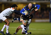 Matt Garvey of Bath Rugby takes on the Leicester Tigers defence. Anglo-Welsh Cup match, between Bath Rugby and Leicester Tigers on November 10, 2017 at the Recreation Ground in Bath, England. Photo by: Patrick Khachfe / Onside Images