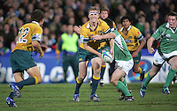 Australian out half Patrick McCabe on the attack during the Division A U19 World Championship clash at Ravenhill.