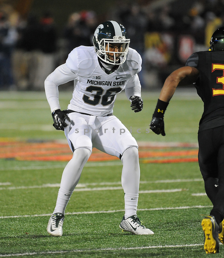 Michigan State Spartans Arjen Colquhoun (36) during a game against the Maryland Terrapins on November 15, 2014 at Byrd Stadium in College Park, MD. Michigan State beat Maryland 37-15.