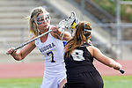 Torrance, CA 05/09/13 - Talia Fiance (Agoura #7) and Julia Gilliam (Oak Park #8) in action during the 2013 Los Angeles area Girls Varsity Lacrosse Championship.  Agoura defeated Oak Park 13-7.