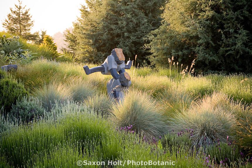 Art, Meadow Jumper sculpture of children playing leapfrog in California meadow garden