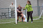 A goalkeeper from Loyalsock Township High School gives directions to her team's player.