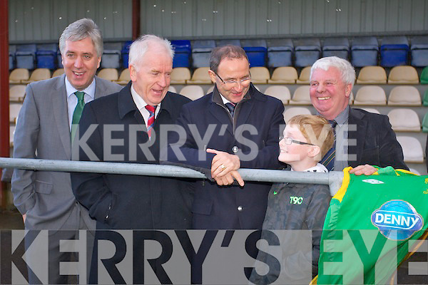 Ireland Manager Martin O'Neill visited the Kerry District League at Mounthawk Park on Friday. Pictured John Delaney, Jimmy Deenihan, Martin O'Neill and John O'Regan talking to Young Soccer player Sean Horan
