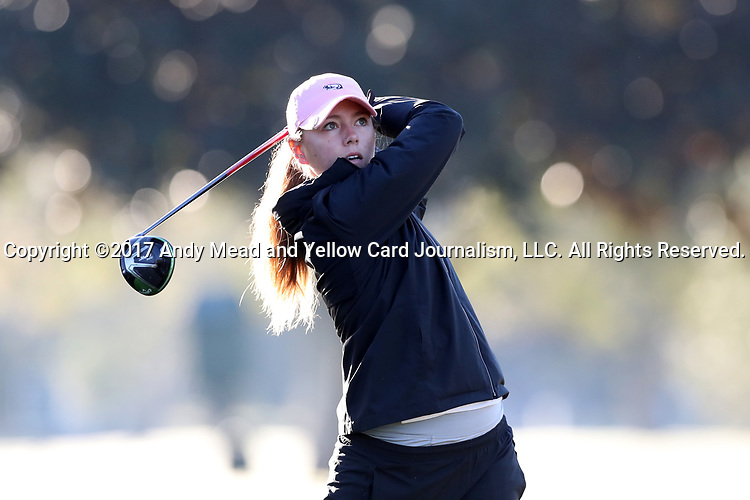 WILMINGTON, NC - OCTOBER 27: Penn State's Megan McLean on the 11th tee. The first round of the Landfall Tradition Women's Golf Tournament was held on October 27, 2017 at the Pete Dye Course at the Country Club of Landfall in Wilmington, NC.