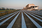 The Bleachers at the famed Churchill Downs horse race track sit empty the morning before the Kentucky Derby.
