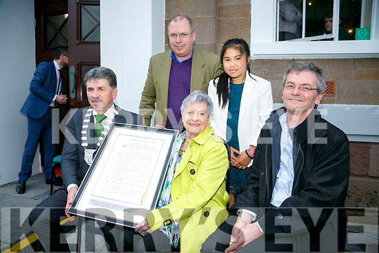 Symbolic Presentation from Mayor of Kerry Cllr Michael O'Shea to the Ashe Family, Eileen Quinn, Agus Quinn  back Colm Quinn and Aisling Quinn at the rededicated to Thomas Ashe at a ceremony hosted by Kerry County Council on Monday