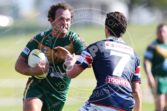 The Wyong Roos play Erina Eagles in Round 1 of the 1st Grade Central Coast Rugby League Division at Morry Breen Oval on 2 April, 2015 in Kanwal, NSW Australia. (Photo by Paul Barkley/LookPro)