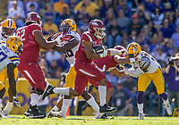 NWA Democrat-Gazette/BEN GOFF @NWABENGOFF<br /> Devwah Whaley, Arkansas running back, carries in the in the second quarter Saturday, Nov. 11, 2017 at Tiger Stadium in Baton Rouge, La.