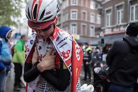 Kelly Van Den Steen (BEL/Lotto Soudal) having cold after finishing.  <br /> <br /> 3th Liège-Bastogne-Liège-Femmes 2019 (1.WWT)<br /> 1 Day Race: Bastogne – Liège 138,5km<br /> <br /> ©kramon