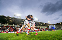 Picture by Allan McKenzie/SWpix.com - 06/04/2018 - Rugby League - Betfred Super League - St Helens v Hull FC - The Totally Wicked Stadium, Langtree Park, St Helens, England - Matty Smith warms up.