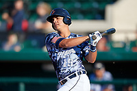 Lakeland Flying Tigers Colby Bortles (19) at bat during a Florida State League game against the Dunedin Blue Jays on May 18, 2019 at Publix Field at Joker Marchant Stadium in Lakeland, Florida.  Dunedin defeated Lakeland 3-2 in eleven innings.  (Mike Janes/Four Seam Images)