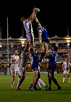 Exeter Chiefs' Ollie Atkins claims a line out under pressure from Bath Rugby's Elliott Stooke<br /> <br /> Photographer Bob Bradford/CameraSport<br /> <br /> Gallagher Premiership - Bath Rugby v Exeter Chiefs - Friday 5th October 2018 - The Recreation Ground - Bath<br /> <br /> World Copyright &copy; 2018 CameraSport. All rights reserved. 43 Linden Ave. Countesthorpe. Leicester. England. LE8 5PG - Tel: +44 (0) 116 277 4147 - admin@camerasport.com - www.camerasport.com