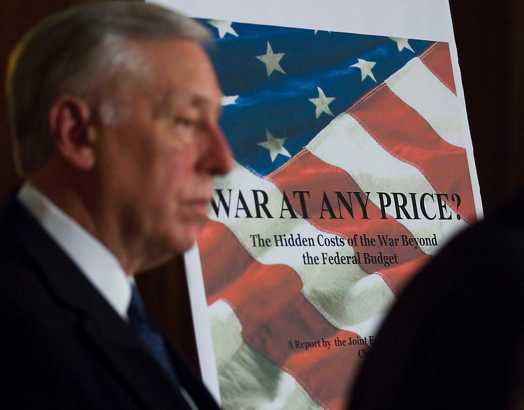 WASHINGTON, DC - Nov. 13: House Majority Leader Steny H. Hoyer, D-Md., during a news conference releasing the Joint Economic Committee's report on the cost of the Iraq war. The report pegged the long-term costs of the Iraq and Afghanistan wars at $3.5 trillion by the year 2017. The House is expected to take up a bill Wednesday providing $50 billion to fund the wars in Iraq and Afghanistan for a few more months, setting up another Senate showdown over Iraq withdrawal provisions later this week. (Photo by Scott J. Ferrell/Congressional Quarterly).