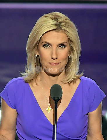 Laura Ingraham, Conservative Political Commentator, makes remarks at the 2016 Republican National Convention held at the Quicken Loans Arena in Cleveland, Ohio on Wednesday, July 20, 2016.<br /> Credit: Ron Sachs / CNP/MediaPunch<br /> (RESTRICTION: NO New York or New Jersey Newspapers or newspapers within a 75 mile radius of New York City)
