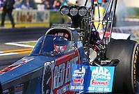 Feb 6, 2015; Pomona, CA, USA; NHRA top fuel driver J.R. Todd during qualifying for the Winternationals at Auto Club Raceway at Pomona. Mandatory Credit: Mark J. Rebilas-
