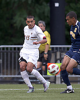 Boston College forward/midfielder Diego Medina-Mendez (15) crosses the ball. Boston College defeated Quinnipiac, 5-0, at Newton Soccer Field, September 1, 2011.
