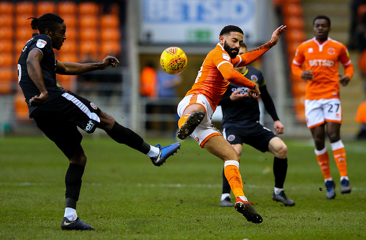 Blackpool's Liam Feeney vies for possession with Shrewsbury Town's Omar Beckles<br /> <br /> Photographer Alex Dodd/CameraSport<br /> <br /> The EFL Sky Bet League One - Blackpool v Shrewsbury Town - Saturday 19 January 2019 - Bloomfield Road - Blackpool<br /> <br /> World Copyright &copy; 2019 CameraSport. All rights reserved. 43 Linden Ave. Countesthorpe. Leicester. England. LE8 5PG - Tel: +44 (0) 116 277 4147 - admin@camerasport.com - www.camerasport.com