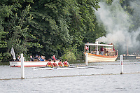 Henley Royal Regatta, Henley on Thames, Oxfordshire, 29 June-3 July 2015.  Wednesday  08:33:23   29/06/2016  [Mandatory Credit/Intersport Images]<br /> <br /> Rowing, Henley Reach, Henley Royal Regatta.<br /> <br /> Wyfold Challenge Cup<br /> <br /> First Race of 2016 Regatta<br /> <br /> Waikato Rowing Club, New Zealand<br /> <br /> With Steam Launch Alaska in the background