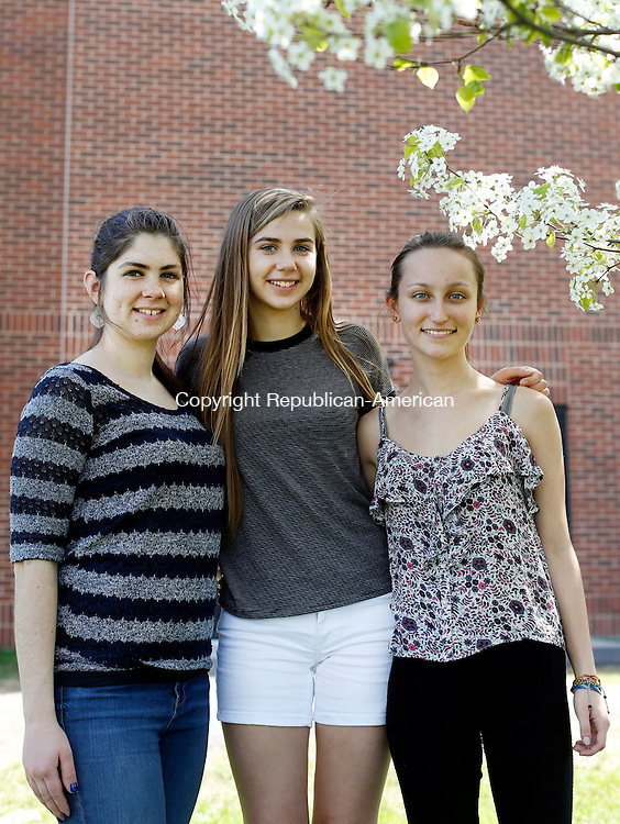 Southbury, CT- 07 May 2015-050715CM03-  From left, Sophie Kossakowski, 18, Julia Kossakowski, 15, and Laura Skinger, 15, are photographed at Pomperaug High School on Thursday.  The girls are members of the school's  Odyssey of the Mind team, which advanced to the World Championships held later this month at Michigan State University in East Lansing, Michigan.   Christopher Massa Republican-American