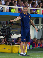 Calcio: amichevole Fiorentina vs Barcellona. Firenze, stadio Artemio Franchi, 2 agosto 2015.<br /> FC Barcelona's coach Luis Enrique gestures during the friendly match between Fiorentina and FC Barcelona at Florence's Artemio Franchi stadium, 2 August 2015.<br /> UPDATE IMAGES PRESS/Riccardo De Luca