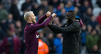 Marko Arnautovic of West Ham United & Cheikhou Kouyate of West Ham United at full time during the EPL - Premier League match between West Ham United and Southampton at the Olympic Park, London, England on 31 March 2018. Photo by Andy Rowland.