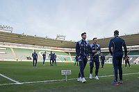 Wycombe players inspect the pitch ahead of the Sky Bet League 2 match between Plymouth Argyle and Wycombe Wanderers at Home Park, Plymouth, England on 26 December 2016. Photo by Mark  Hawkins / PRiME Media Images.